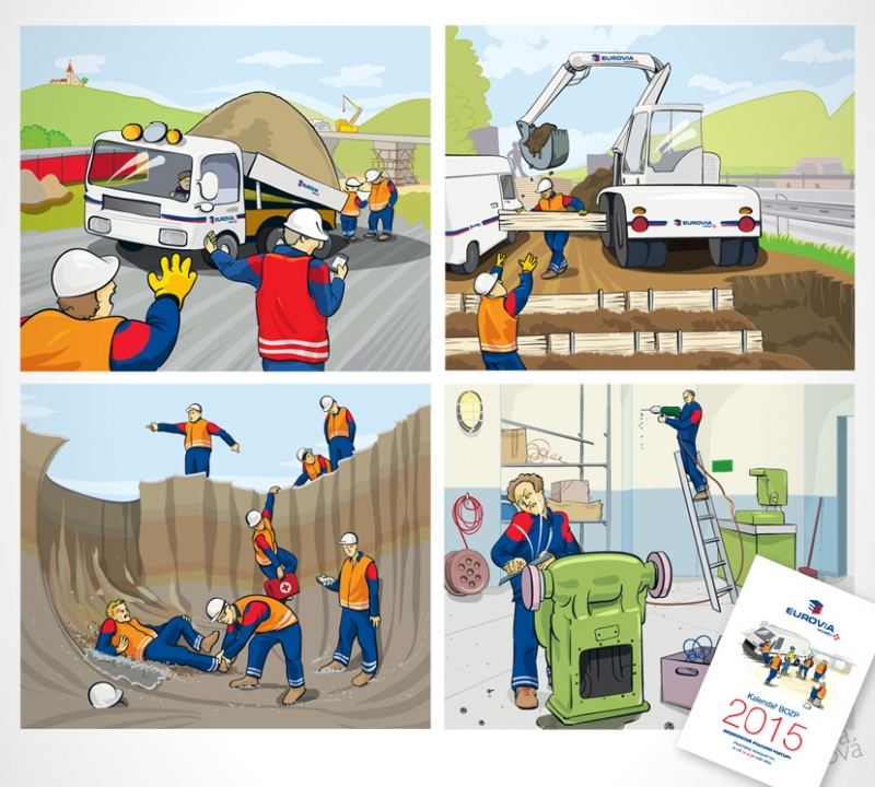 Work safety wall calendar for Eurovia. Opus magnum of 2014.